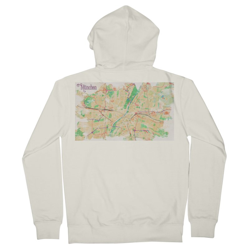 Munich in Watercolor Women's French Terry Zip-Up Hoody by rouages's Artist Shop