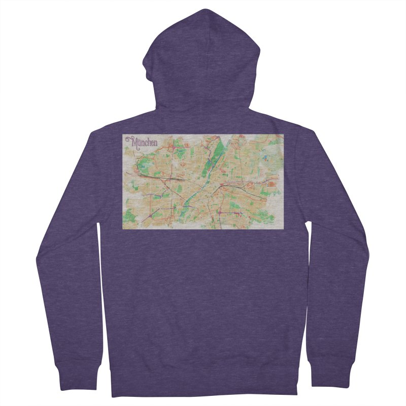 Munich in Watercolor Men's French Terry Zip-Up Hoody by rouages's Artist Shop