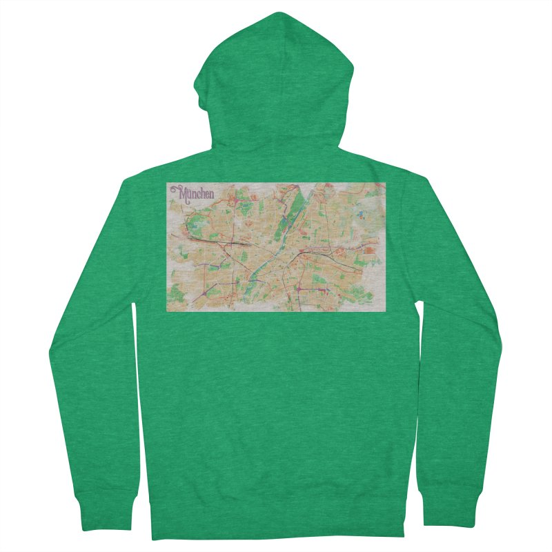 Munich in Watercolor Men's Zip-Up Hoody by rouages's Artist Shop