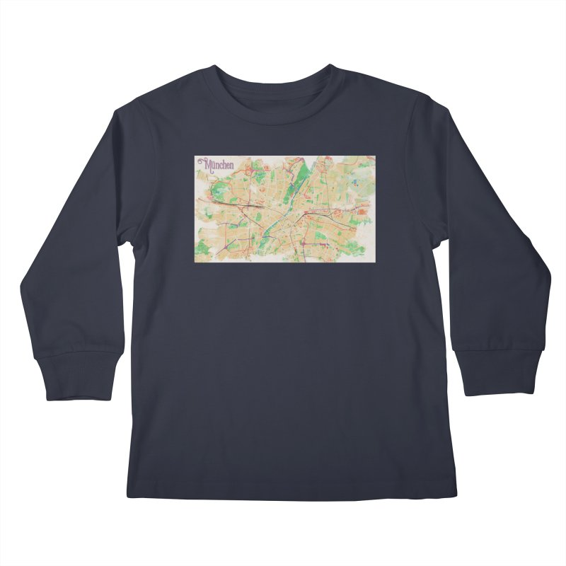 Munich in Watercolor Kids Longsleeve T-Shirt by rouages's Artist Shop