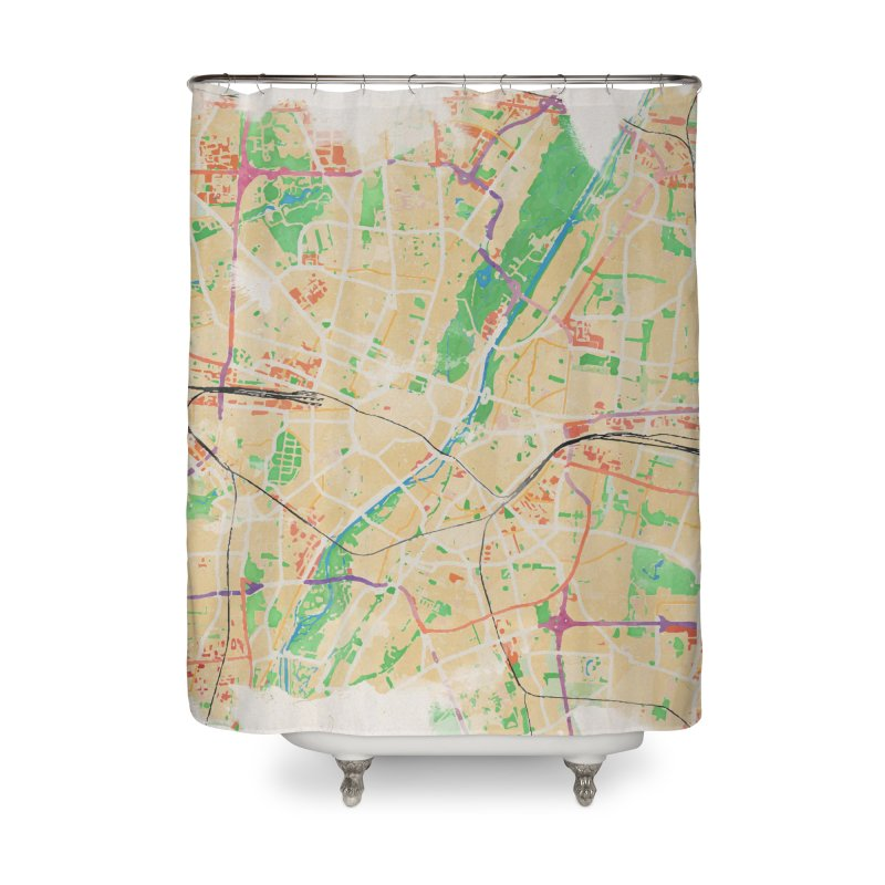 Munich in Watercolor Home Shower Curtain by rouages's Artist Shop