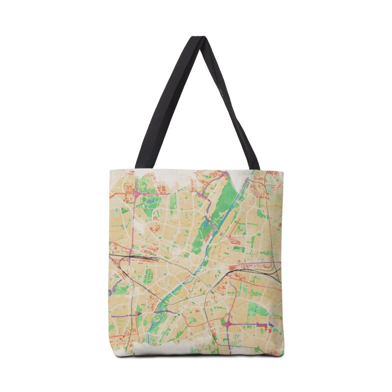 Munich in Watercolor Accessories Tote Bag Bag by rouages's Artist Shop