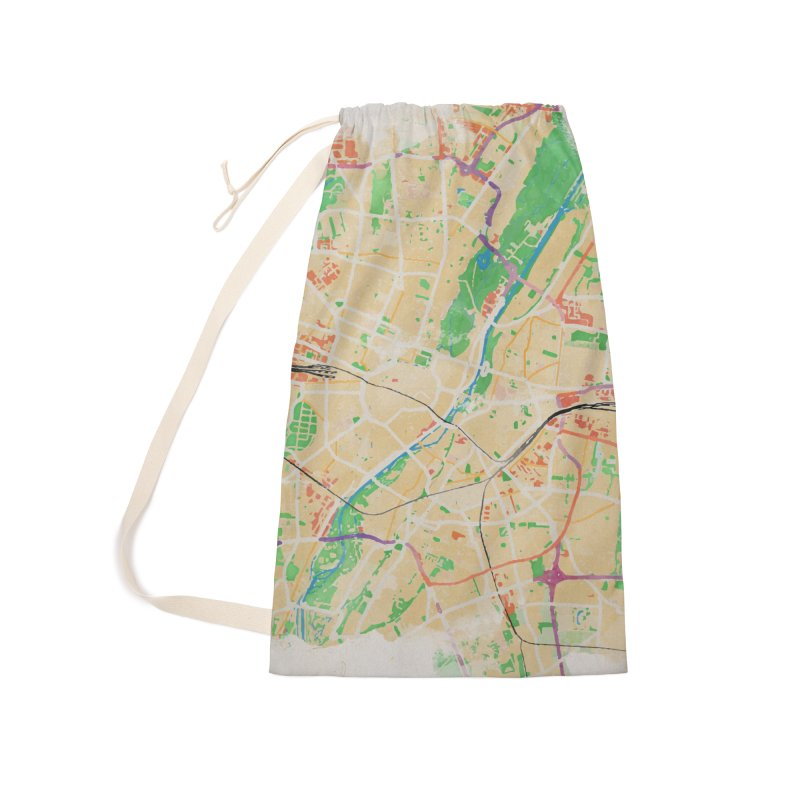 Munich in Watercolor Accessories Laundry Bag Bag by rouages's Artist Shop