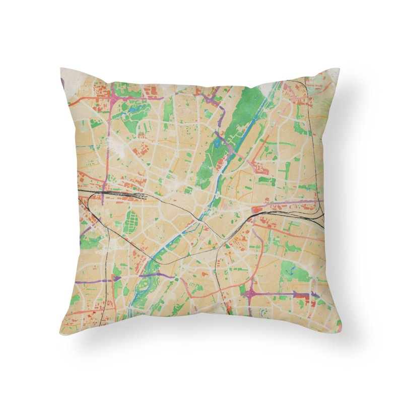 Munich in Watercolor Home Throw Pillow by rouages's Artist Shop