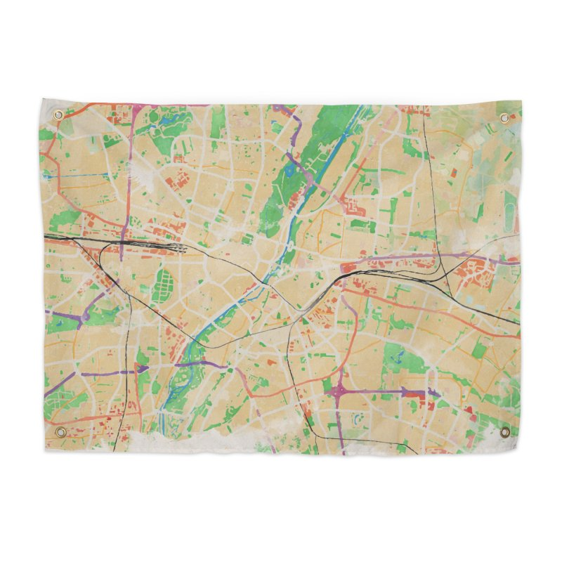 Munich in Watercolor Home Tapestry by rouages's Artist Shop