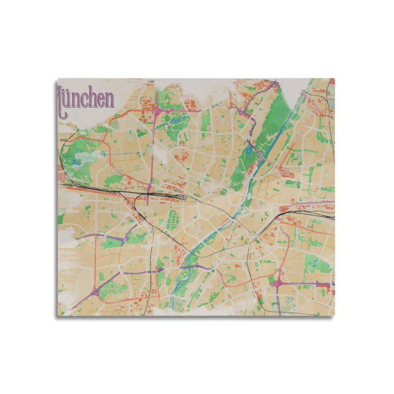 Munich in Watercolor Home Mounted Acrylic Print by rouages's Artist Shop