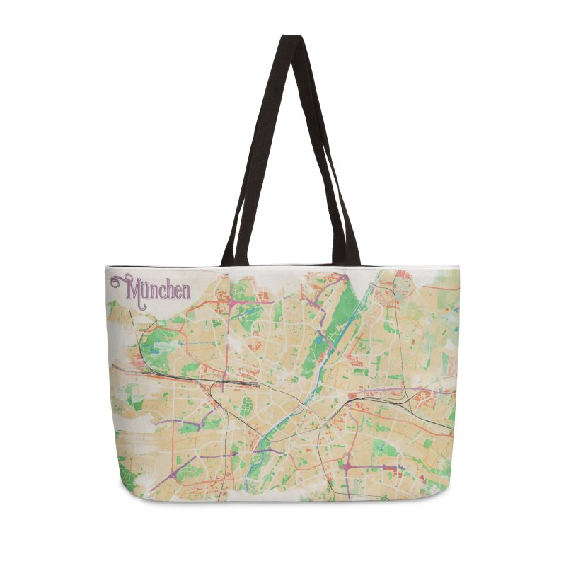 Munich in Watercolor Accessories Weekender Bag Bag by rouages's Artist Shop