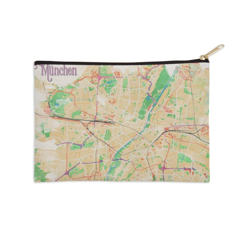 Munich in Watercolor Accessories Zip Pouch by rouages's Artist Shop
