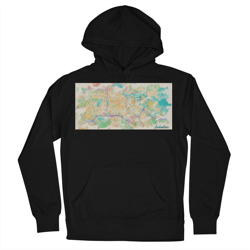 Amsterdam in Watercolor Men's French Terry Pullover Hoody by rouages's Artist Shop