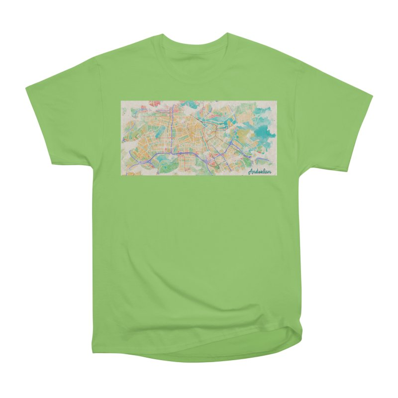 Amsterdam in Watercolor Women's Heavyweight Unisex T-Shirt by rouages's Artist Shop