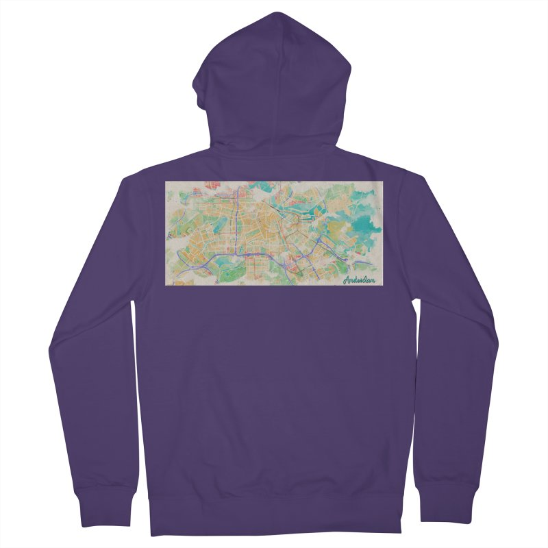 Amsterdam in Watercolor Women's French Terry Zip-Up Hoody by rouages's Artist Shop