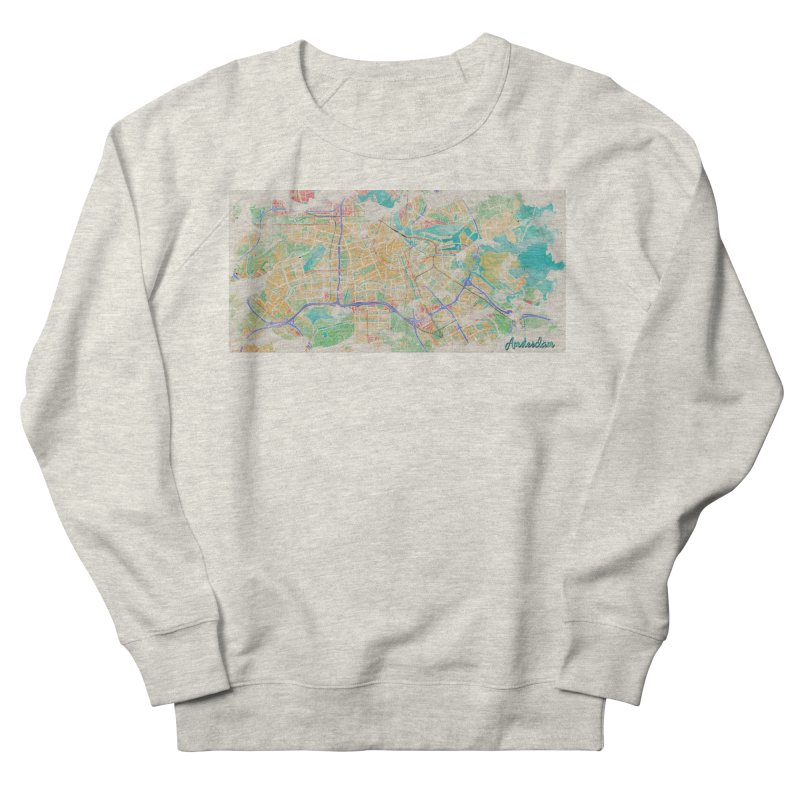 Amsterdam in Watercolor Men's French Terry Sweatshirt by rouages's Artist Shop