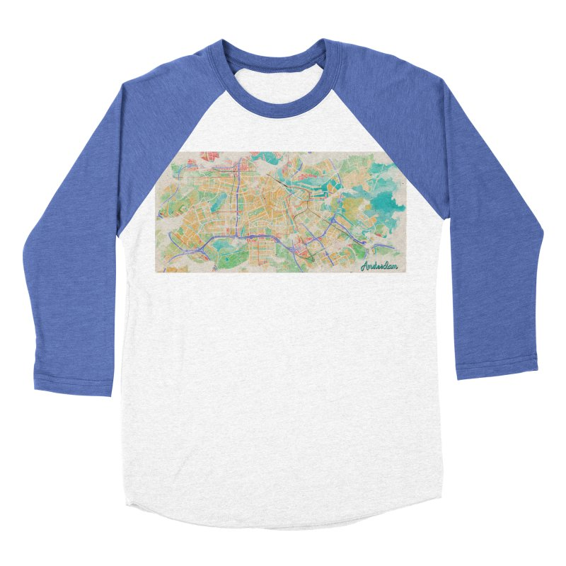 Amsterdam in Watercolor Women's Baseball Triblend Longsleeve T-Shirt by rouages's Artist Shop