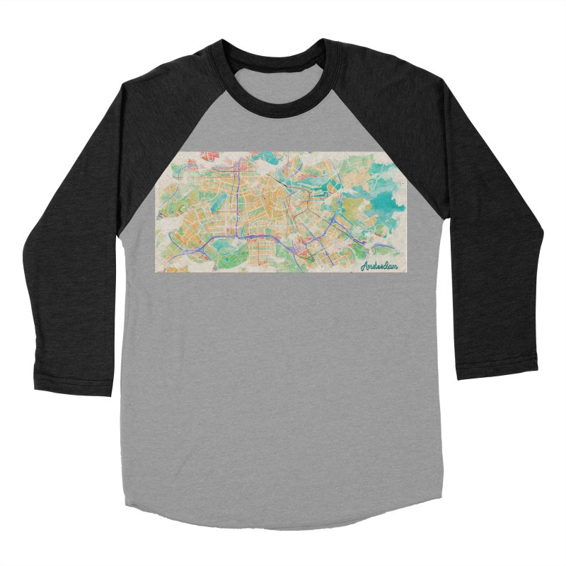 Amsterdam in Watercolor Men's Baseball Triblend Longsleeve T-Shirt by rouages's Artist Shop