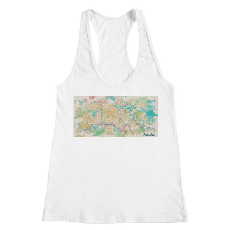 Amsterdam in Watercolor Women's Racerback Tank by rouages's Artist Shop