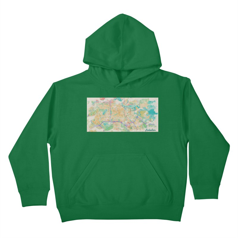 Amsterdam in Watercolor Kids Pullover Hoody by rouages's Artist Shop