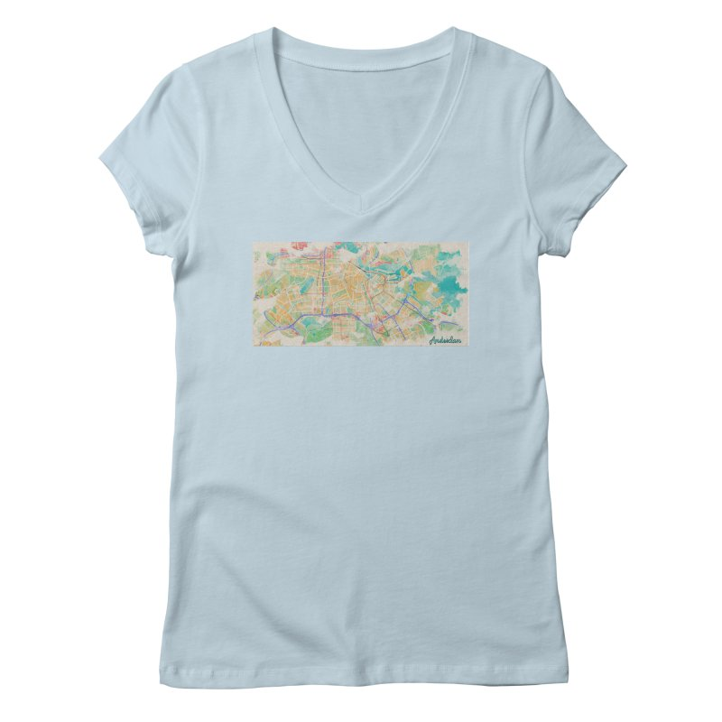 Amsterdam in Watercolor Women's Regular V-Neck by rouages's Artist Shop
