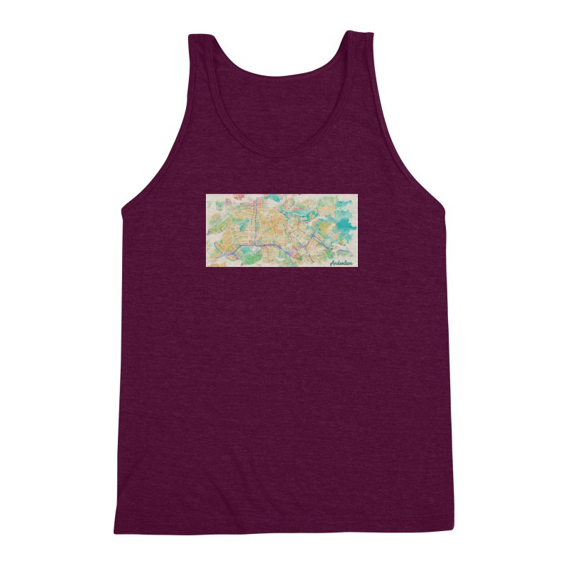 Amsterdam in Watercolor Men's Triblend Tank by rouages's Artist Shop