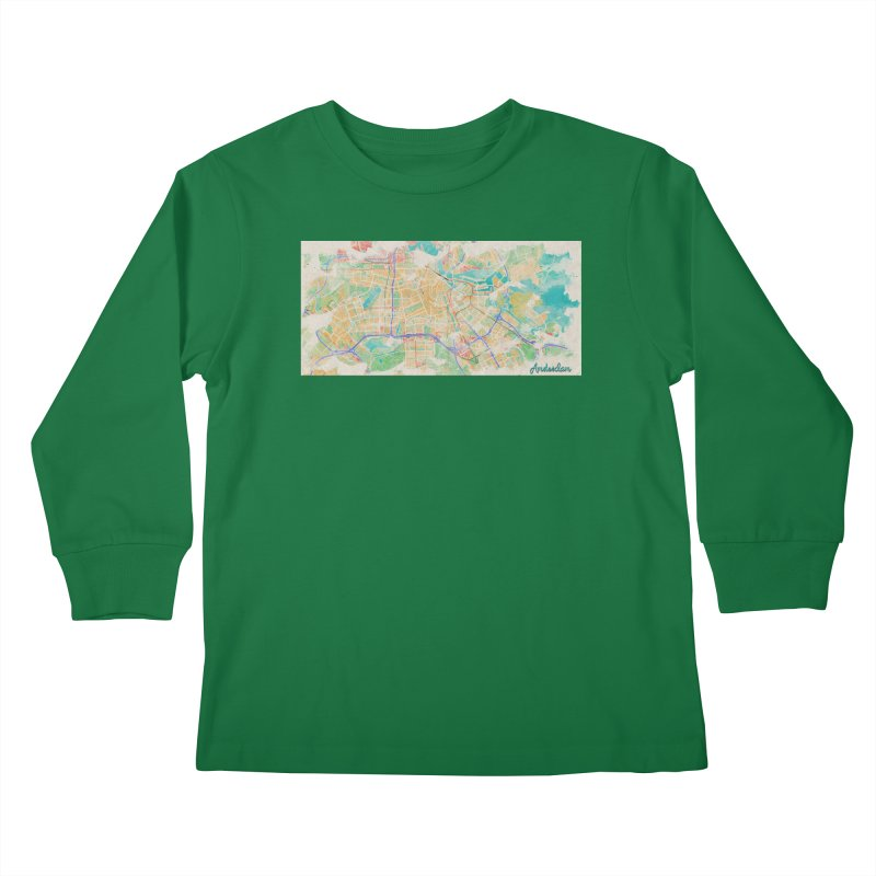 Amsterdam in Watercolor Kids Longsleeve T-Shirt by rouages's Artist Shop