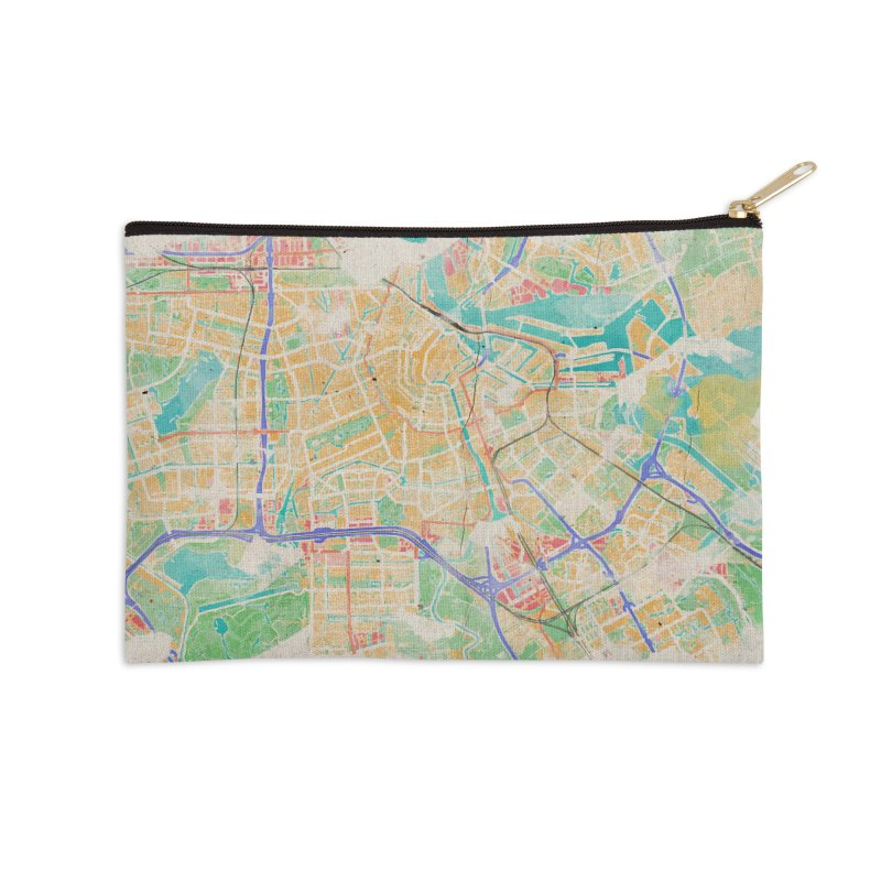 Amsterdam in Watercolor Accessories Zip Pouch by rouages's Artist Shop