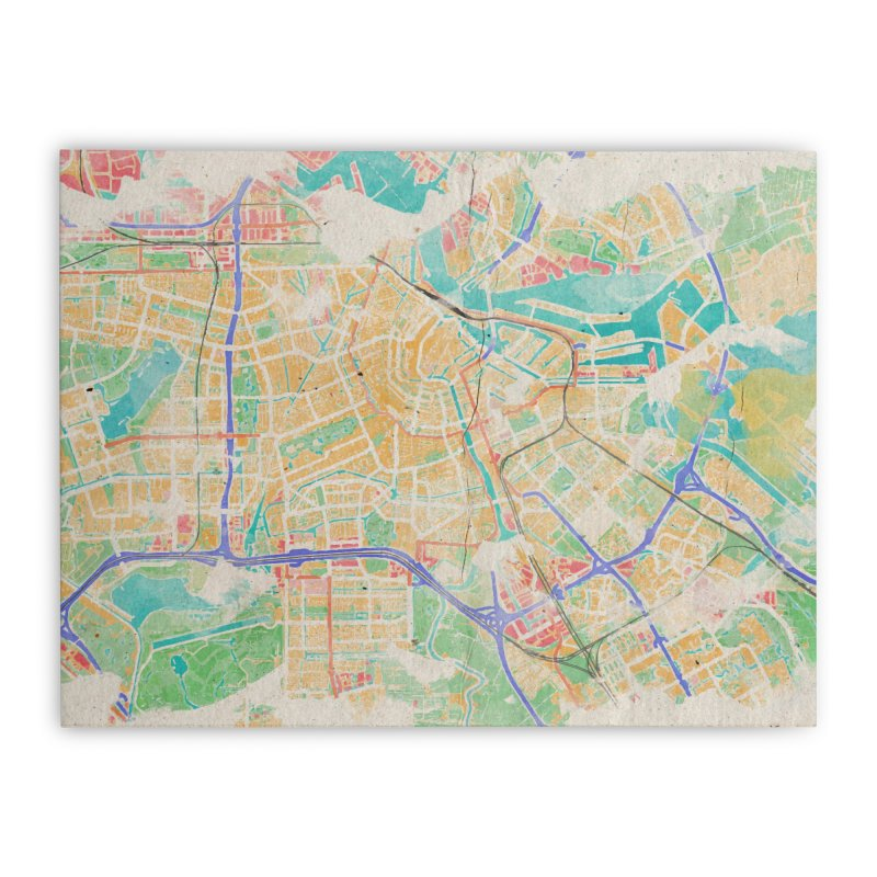Amsterdam in Watercolor Home Stretched Canvas by rouages's Artist Shop