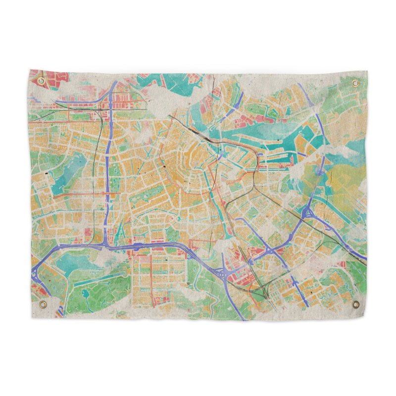 Amsterdam in Watercolor Home Tapestry by rouages's Artist Shop