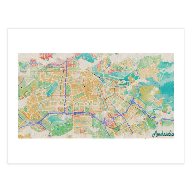 Amsterdam in Watercolor Home Fine Art Print by rouages's Artist Shop