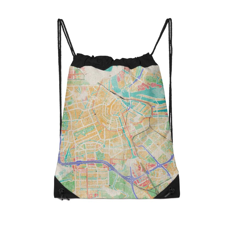 Amsterdam in Watercolor Accessories Drawstring Bag Bag by rouages's Artist Shop