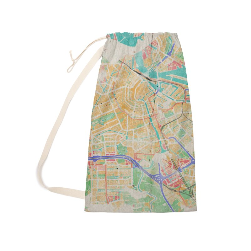 Amsterdam in Watercolor Accessories Laundry Bag Bag by rouages's Artist Shop