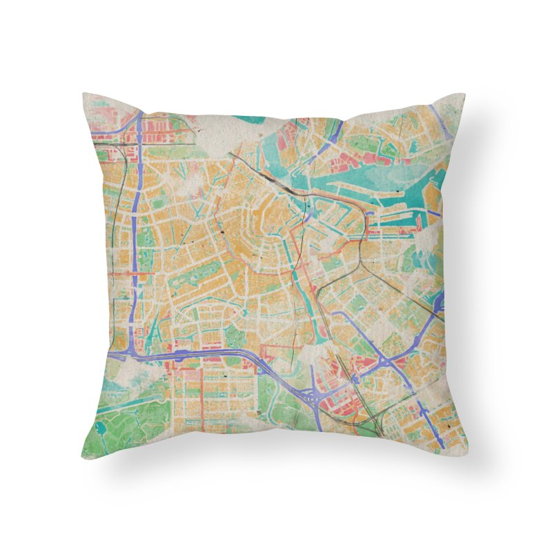 Amsterdam in Watercolor Home Throw Pillow by rouages's Artist Shop