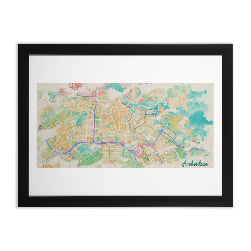Amsterdam in Watercolor Home Framed Fine Art Print by rouages's Artist Shop