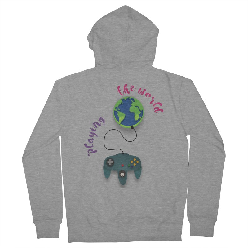 Playing the World Men's French Terry Zip-Up Hoody by rouages's Artist Shop