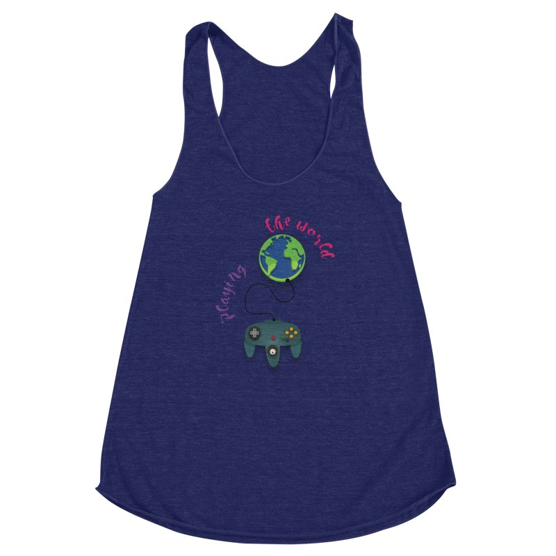 Playing the World Women's Racerback Triblend Tank by rouages's Artist Shop