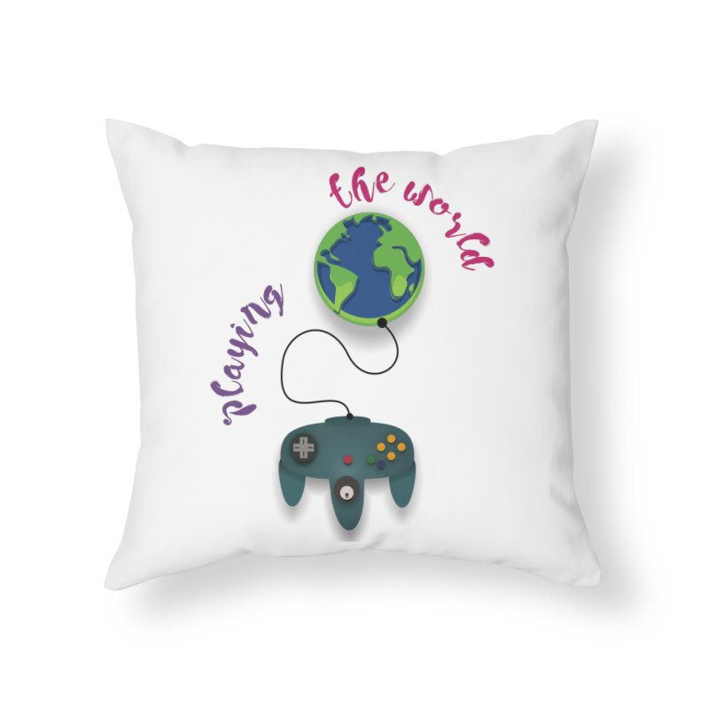 Playing the World Home Throw Pillow by rouages's Artist Shop