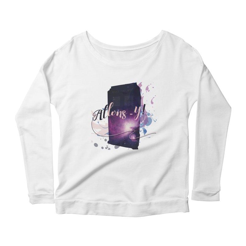 TARDIS' Allons-y! Women's Scoop Neck Longsleeve T-Shirt by rouages's Artist Shop