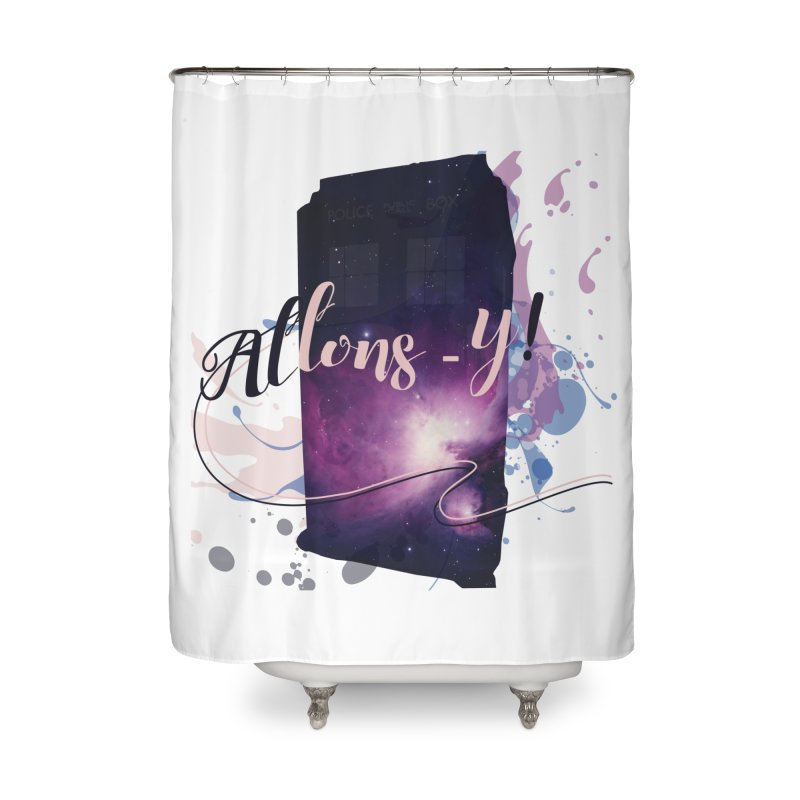TARDIS' Allons-y! Home Shower Curtain by rouages's Artist Shop