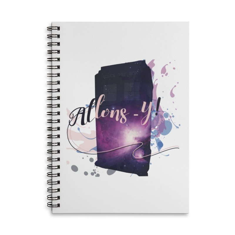 TARDIS' Allons-y! Accessories Lined Spiral Notebook by rouages's Artist Shop