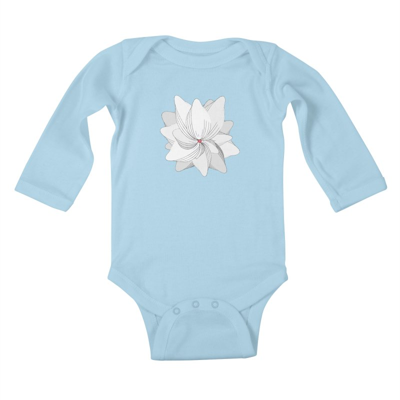 The Flower of my Heart Kids Baby Longsleeve Bodysuit by rouages's Artist Shop