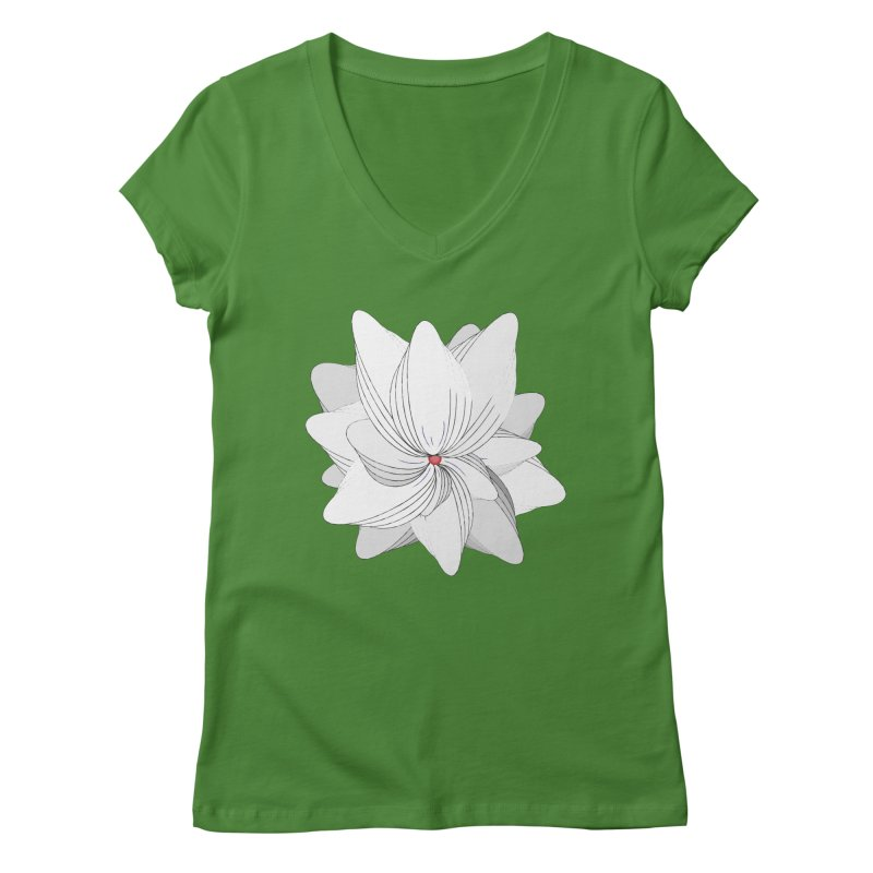 The Flower of my Heart Women's Regular V-Neck by rouages's Artist Shop
