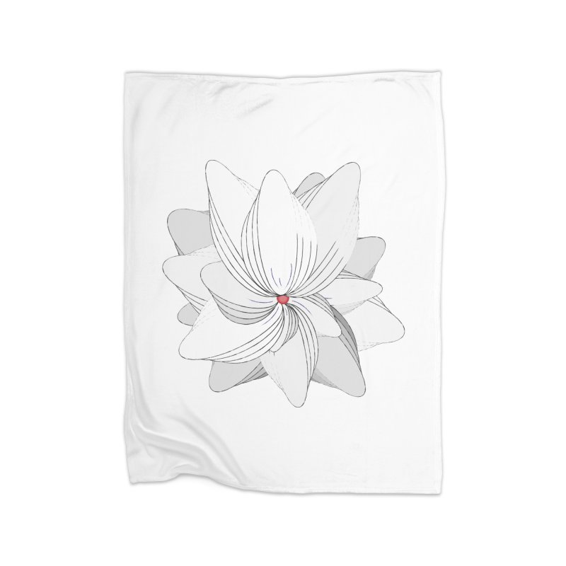 The Flower of my Heart Home Fleece Blanket Blanket by rouages's Artist Shop