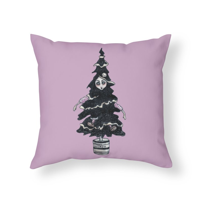 Black Xmas Tree Home Throw Pillow by roublerust's Artist Shop