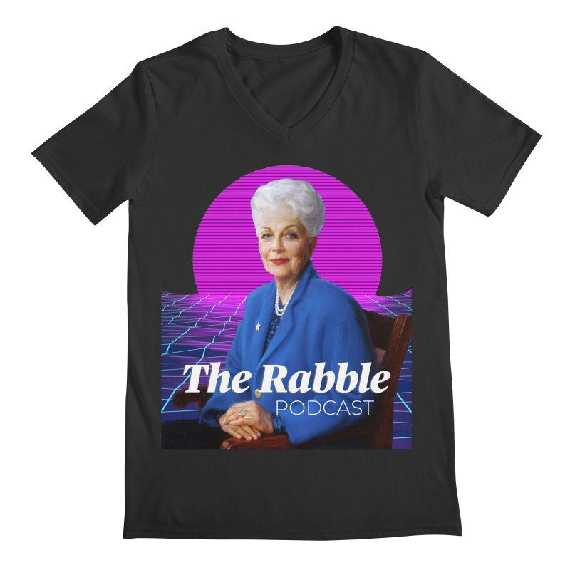 Ann Richards Pink Sun, The Rabble Podcast Men's Regular V-Neck by Rouser