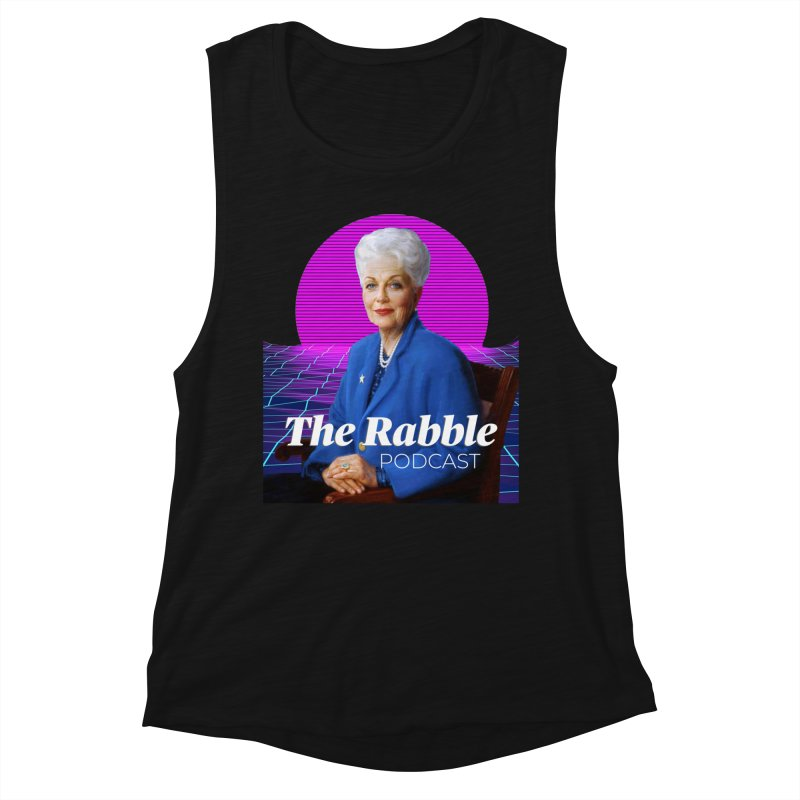 Ann Richards Pink Sun, The Rabble Podcast Women's Muscle Tank by Rouser