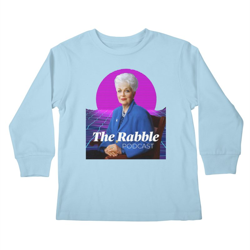 Ann Richards Pink Sun, The Rabble Podcast Kids Longsleeve T-Shirt by Rouser