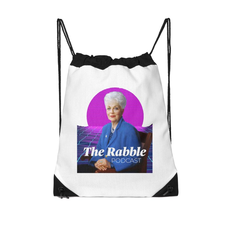 Ann Richards Pink Sun, The Rabble Podcast Accessories Drawstring Bag Bag by Rouser