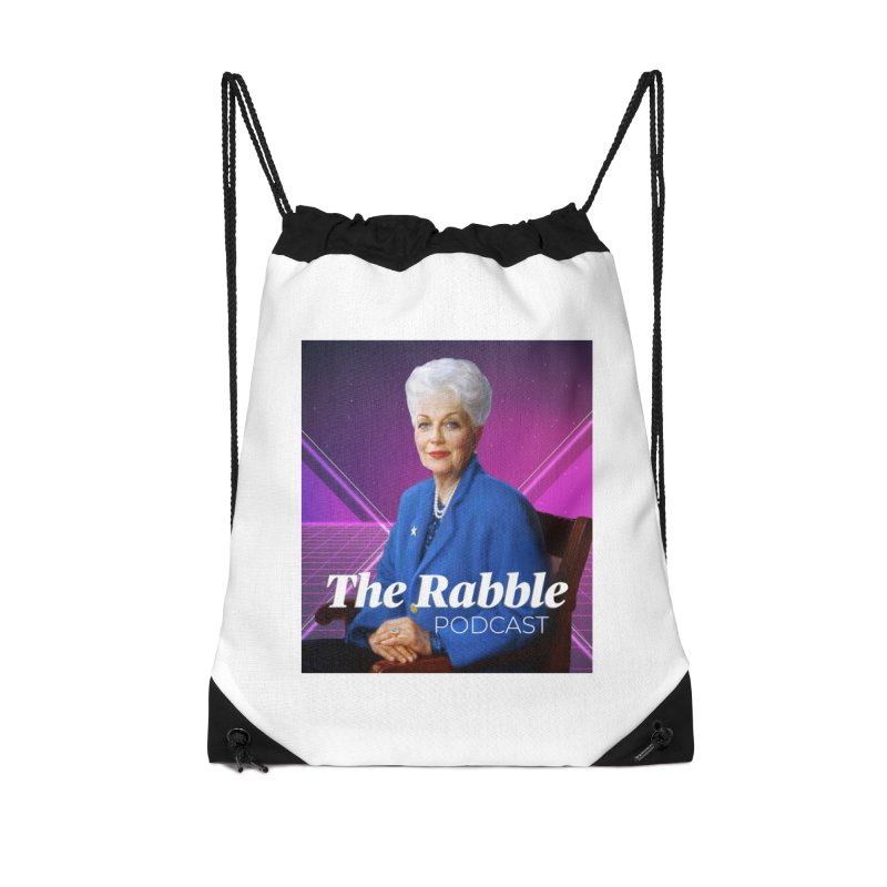 Ann Richards Lasers, The Rabble Podcast Accessories Drawstring Bag Bag by Rouser