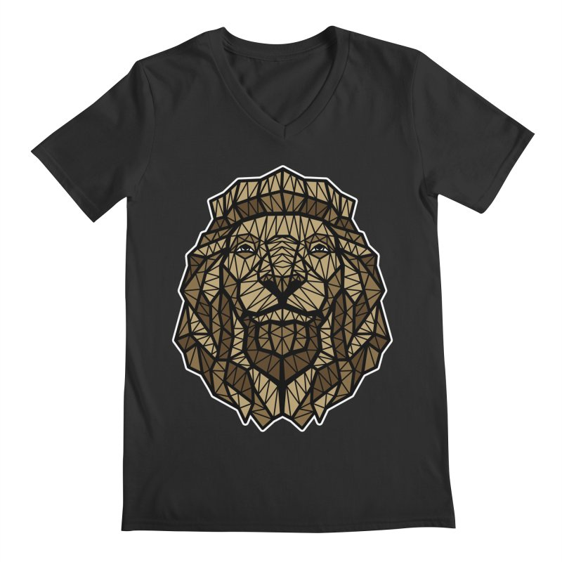 Browny Lion  Men's V-Neck by rskamesado's Artist Shop