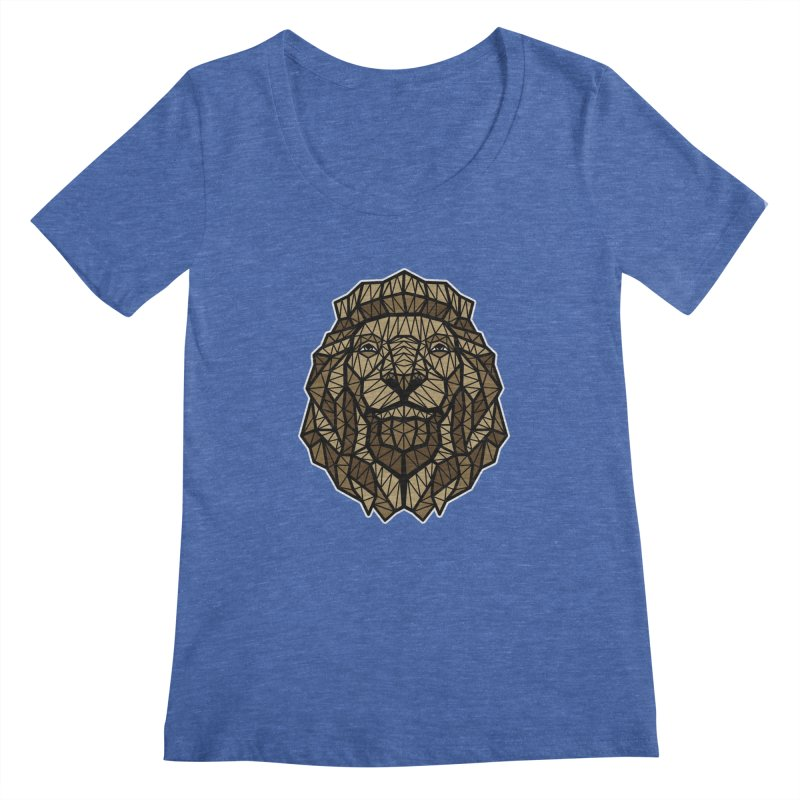 Browny Lion  Women's Scoopneck by rskamesado's Artist Shop