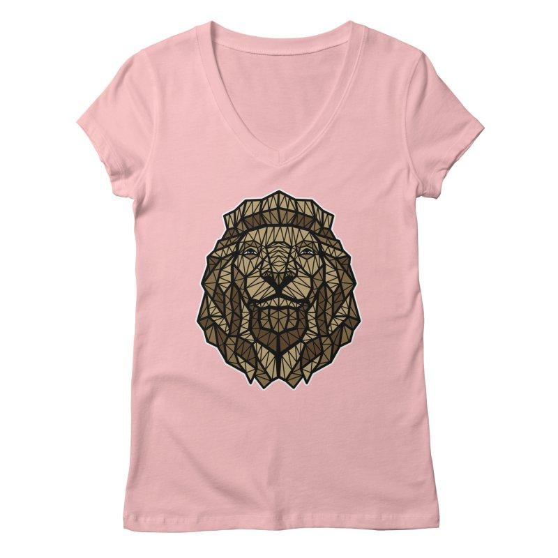 Browny Lion  Women's V-Neck by rskamesado's Artist Shop