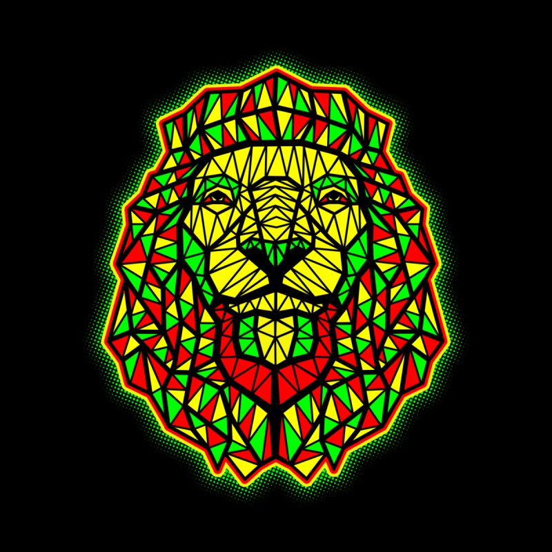 Rasta Geometric Lion Men's T-shirt by rskamesado's Artist Shop